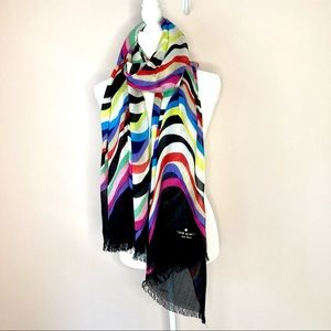 Kate spade colorful stripe scarf wrap pink black
